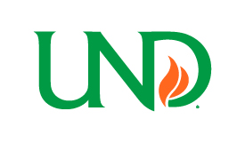 UND flame logo on white