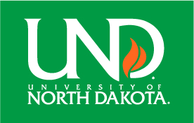 UND vertical logo on green
