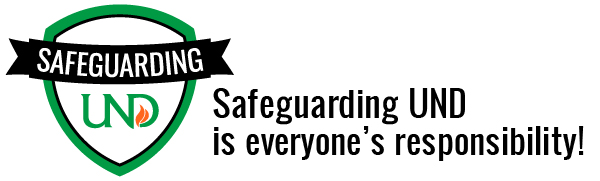 Safeguarding UND Logo with slogan: Safeguarding UND is everyone's responsibility.