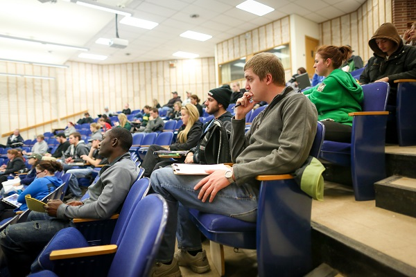 A lecture hall full of students
